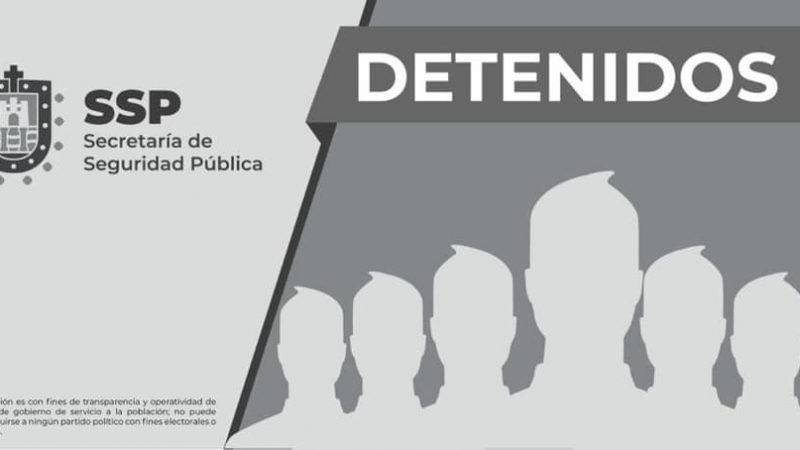 Detiene SSP a ocho personas por diversos delitos, en cinco municipios