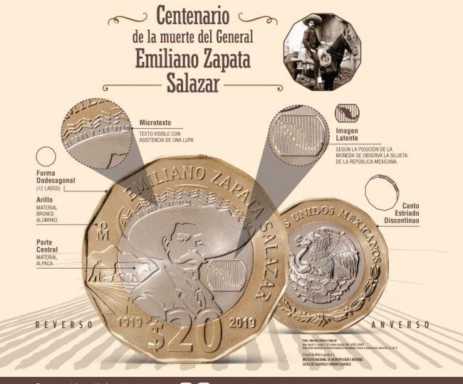 Ponen en circulación moneda de 20 pesos conmemorativa del «Centenario de la muerte del general Emiliano Zapata»